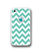 Mint White Chevron Apple Logo iPhone Case - Rubber Silicone iPhone 5 Case - $10.99