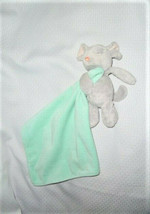 CARTERS grey mouse aqua green security blanket lovey Rattle - $13.85