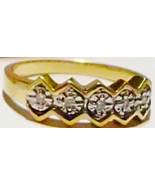 10K YELLOW & WHITE GOLD DIAMOND ROUND BAND RING, SIZE 6.75, 2.20GR - PREOWNED - $89.99