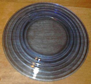 Moderntone Depression Glass Cobalt Blue Sherbet Plate #1