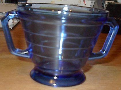 Moderntone Depression Glasss Cobalt Blue Sugar Bowl