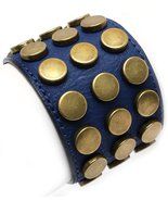Leather Style Blue Brass Metal Studs Wrap Cuff Bracelet Unisex Armor Riv... - $16.99