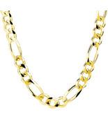 8.5MM 14k Oro Amarillo Plata de Ley Vínculo Figaro Italiano Hombres Cadena - £152.47 GBP+