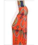 Sexy Orange Tribal Print Wide Leg High Waist Pa... - $34.05