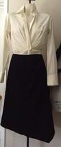 $950 DONNA KARAN signature label collection wool black spandex skirt 12 Asymmetr - $213.13