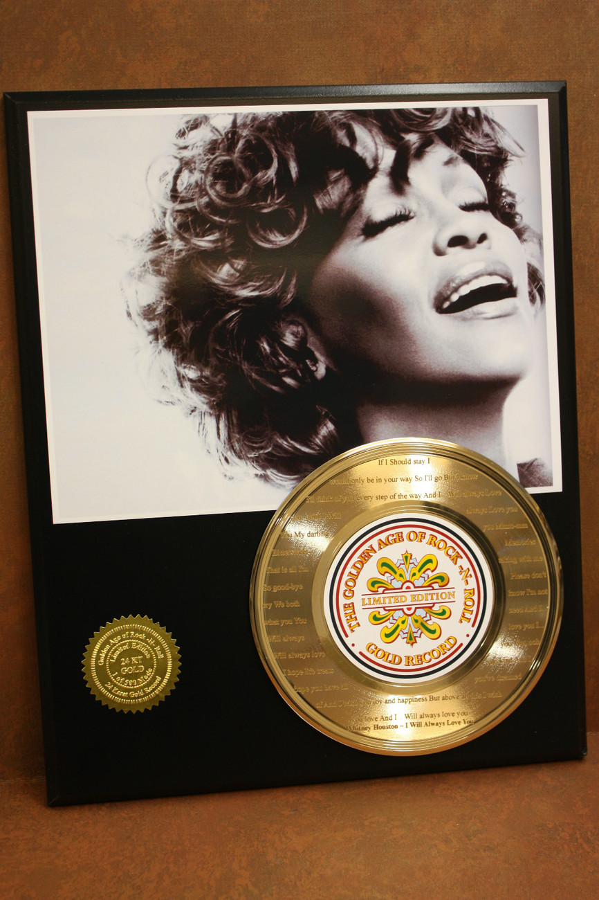 "WHITNEY HOUSTON 24KT GOLD RECORD ETCHED W/ THE SONG ""I WILL ALWAYS LOVE YOU"""