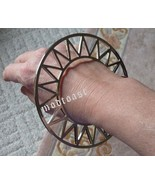 Geometric Triangle Bracelet Silver Cuff Celestial Zig Zag Tribal Bangle  - $13.99