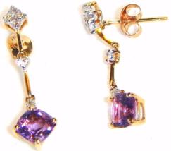 14K YELLOW GOLD AMETHYST, WHITE TOPAZ & DIAMOND DANGLE EARRINGS, 1.24(TCW) 1.40G - $109.99