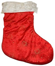 Large Red & Gold Embellished  Velveteen & faux Fur Christmas Stocking So... - $5.99