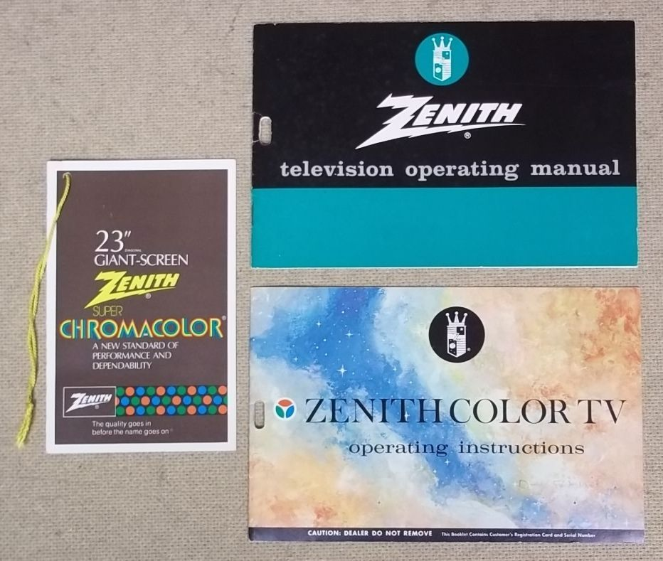 Zenith Manual Instructions and Tag for Chromacolor TV 202-3668 Vintage Paper