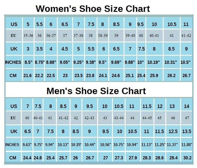 Men's shoe size conversion table between US, European, UK, Australian & Chinese shoe sizes and the equivalent of each shoe size in inches and centimeters. Please note that there is no real international standard for men's shoe sizing.