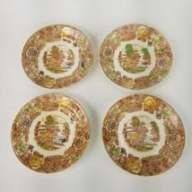 """4 pcs NASCO China MOUNTAIN WOOD LAND Pattern ~ 4 Saucers ~ 5 3/4"""" - $28.04"""
