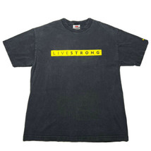 Vintage Nike Live strong Faded Black Spellout T Shirt Size Large Yellow ... - £21.54 GBP