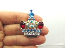 Vintage CROWN Pin Pageant Austrian RHINESTONE Crystal  Brooch Queen Prin... - $16.78