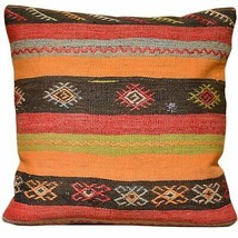 "20"" x 20"" Geometric Design Turkish Hand-Woven Kilim Pillow Cover Brpal-615 - $76.50"