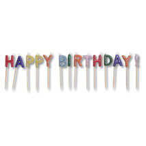 Candles Pick Sets with Glitter Happy Birthday/Case of 12 - ₨3,486.39 INR