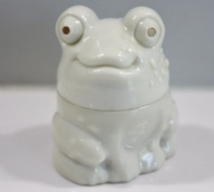 Avon Frog Milk Glass Cream Decanter Mostly Empty - $6.89
