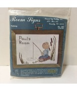 """Fishing Room Sign Embroidery Kit Cathy 4"""" x 3"""" Boy - $8.79"""