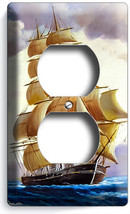 Sea Sailing Sailboat Ship Nautical Duplex Outlet Wall Plate Beach House Decor - $8.09
