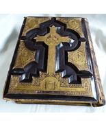 ANTIQUE VTG HOLY CATHOLIC BIBLE DOUAY & RHEIMS 1800'S .22 KT GOLD GILT L... - $2,296.80