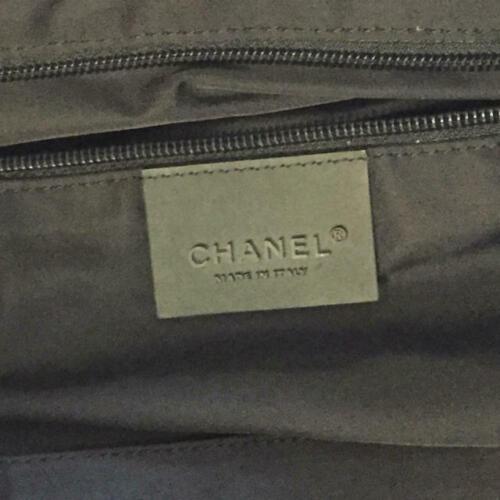Auth Chanel Boston Bag Black Nylon Inner Pockets Logo Pouch Canvas Zipper B5276
