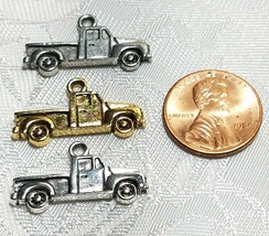 PICKUP TRUCK 2D FINE PEWTER PENDANT CHARM MADE IN THE UNITED STATES image 2