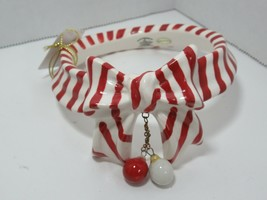 Yankee Candle Red White stripes bow ornament dangle candy cane collar to... - $19.79