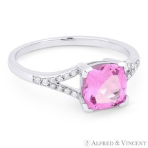 2.11 ct Cushion Cut Pink Lab-Made Sapphire & Diamond 14k White Gold Prom... - £302.44 GBP
