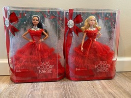 2018 Holiday Barbies Set Of 2 Blonde And Brunette Christmas Sold Out Rar... - $129.00