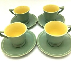 Vintage Gladding McBean Franciscan Green and Yellow Demitasse cup and Saucer set - $68.68