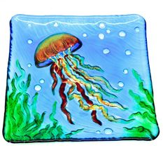 "Jaco Handcrafted Ocean Jellyfish Fused Glass 8.25"" Square Decorative Plate image 4"