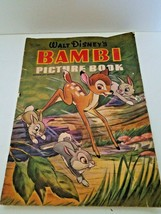 Walt Disney Bambi Picture Book Vintage 1942. Printed In The USA. Large - $5.93