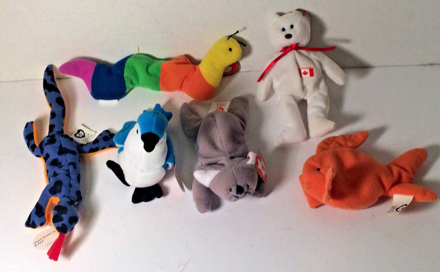 TY Teenie Beanie Babies Inch Mell Lizz Maple Rocket and Goldie 1993 Lot of 6
