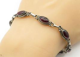 925 Sterling Silver - Vintage Cabochon Cut Carnelian Link Chain Bracelet... - $51.90