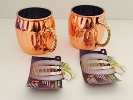 2x HAMMERED ~ MOSCOW MULE ~ COPPER PLATED MUG WITH BRASS HANDLES AND DEN... - $24.18
