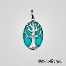 Sterling Silver Tree of Life Pendant with Turquoise - $19.75