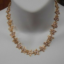 Designer Signed METALL Rhinestone Star Necklace  - $99.00