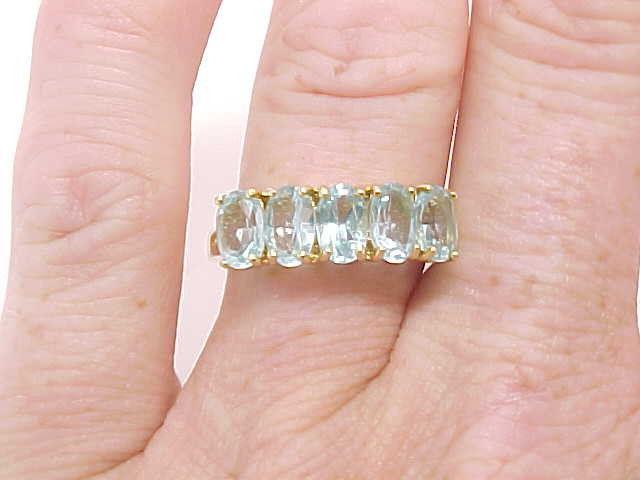 Five Stone BLUE TOPAZ 14K Gold on Sterling Silver Vintage RING - Size 7 1/4