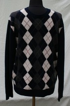 J Crew Lambs Wool Crewneck Sweater Sz L Argyle Navy Blue Mens - $39.97