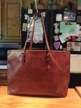 Michael Kors Brown Leather Snake Print Shoulderbag Shopper Tote - $64.99