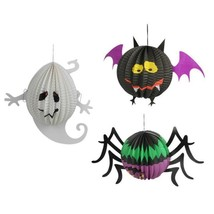 3 Pcs Halloween Paper Lanterns Three-dimensional Halloween Spooky Ghost ... - $9.74