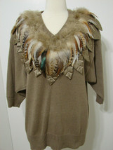 BONNIE AND BILL Vintage 89 Sweater Hong Kong Taupe Real Feather Dolman S... - $62.99