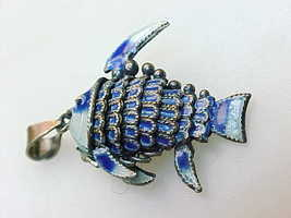 Genuine ENAMEL and 800 SILVER Articulated FISH PENDANT- Vintage, Highly ... - $65.00