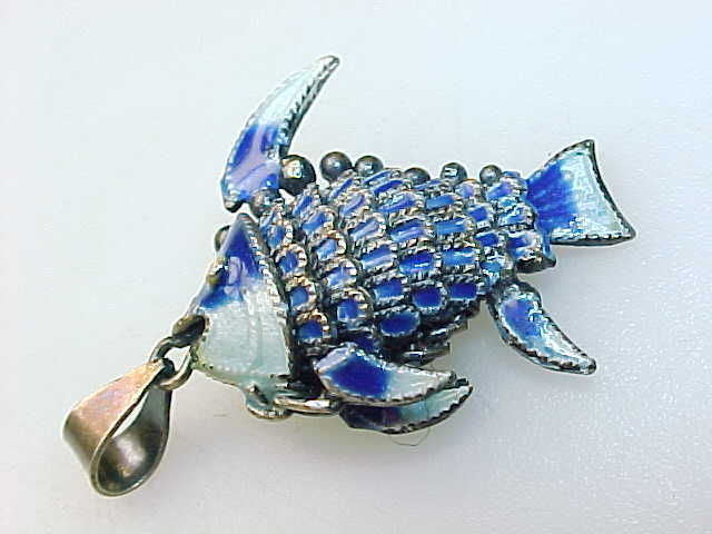 Genuine ENAMEL and 800 SILVER Articulated FISH PENDANT- Vintage, Highly Detailed