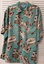 Men's Bermuda Bay 100% Silk Shirt Hawaiian Islands Size: L