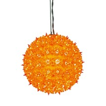 "Vickerman 7.5"" Orange Lighted Hanging Star Sphere Christmas Decoration - £33.92 GBP"