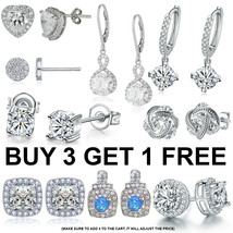Glittering! Radiant Marquis Heart Halo CZ White Gold Plated Stud Earrings - $7.99