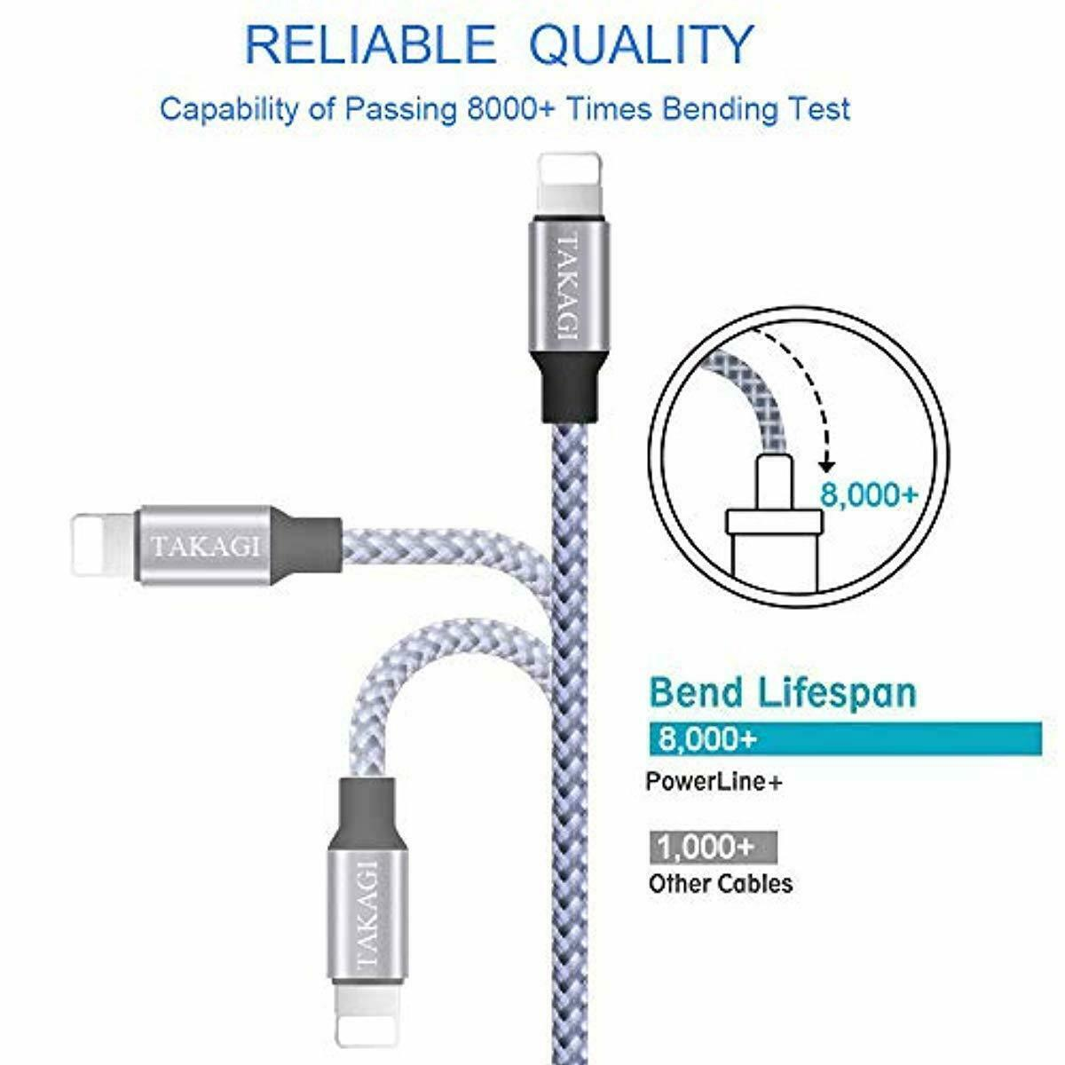 3 Pack TAKAGI Lightning Cable 6ft Extra Long Nylon Charging Cord High Speed New