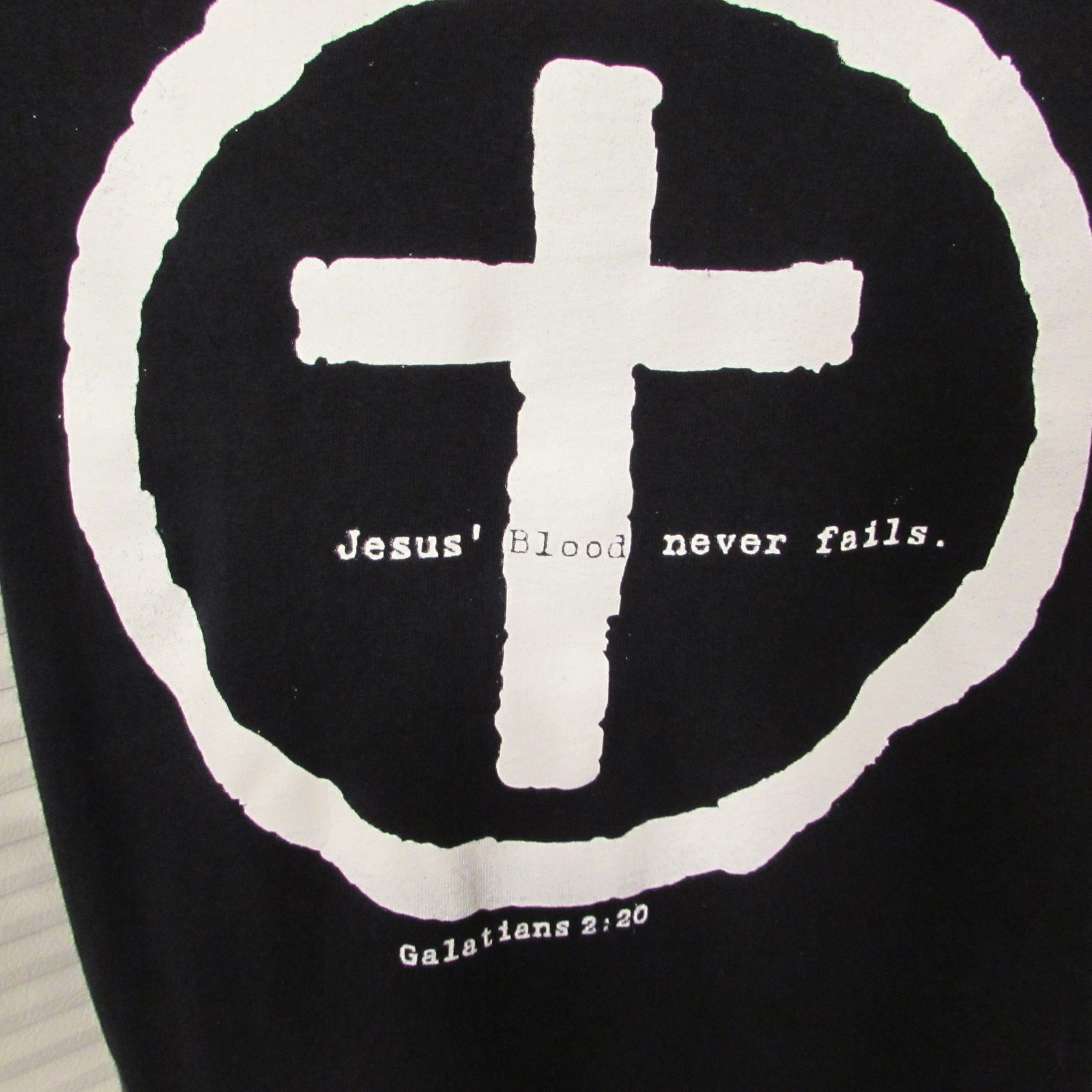 "Men's Christian Religious T-Shirt ""Jesus Blood Never Fails-Galatians 2:20"" S: M"