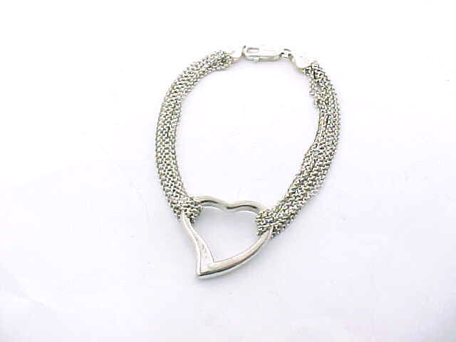 Primary image for ITALIAN STERLING Silver Vintage 8 Strand Mesh HEART Toggle BRACELET - ROMANTIC